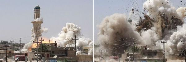 Fotos sequenciais mostram a implosão de uma mesquita xiita em Mosul
